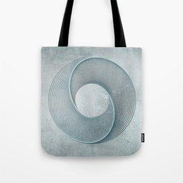 Geometrical Line Art Circle Distressed Teal Tote Bag