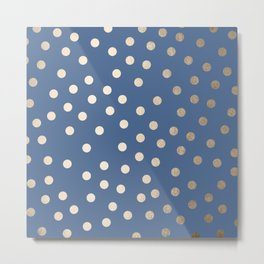 Simply Dots White Gold Sands on Aegean Blue Metal Print