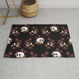 Gloomy skull, mystical bird and dark flowers pattern Rug