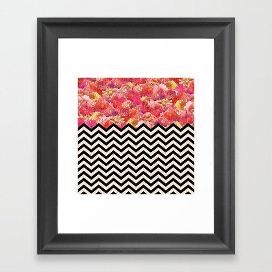 Chevron Flora Framed Art Print