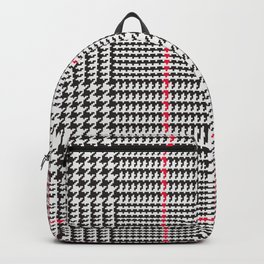 Black and White Glen Plaid with Red Stripe Backpack