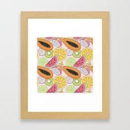 Fruits Set Pattern Framed Art Print