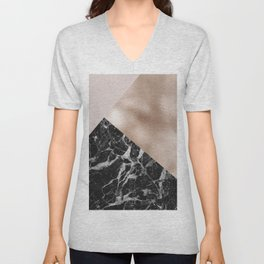 Layered rose gold and black campari marble Unisex V-Neck