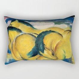 """Franz Marc """"Little Yellow Horses"""" Rectangular Pillow"""
