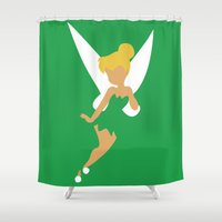 tinker bell Shower Curtains featuring Tinker Bell by Adrian Mentus