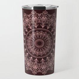 Charming Rose Gold Meditative Mandala Travel Mug