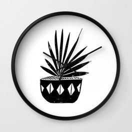Aloe houseplant linocut lino print black and white minimal modern office home dorm college decor Wall Clock