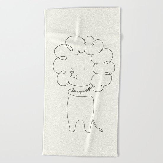 Love Yourself Lion Beach Towel