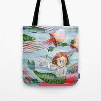 siren Tote Bags featuring SIREN by Lauraballa StudioArte