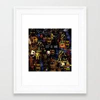 fnaf Framed Art Prints featuring FNAF Cluster Design by artistathenawhite