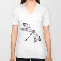 dragonfly V-neck T-shirts featuring Dragonfly by Moran Bazaz