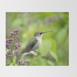 Hummingbird with Lilacs Throw Blanket