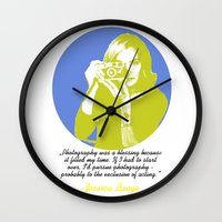 jessica lange Wall Clocks featuring Jessica Lange by BeeJL