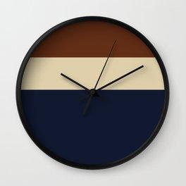 Color Block Triple - Minimalist Solid Stripe Pattern in Brown, Cream Beige, and Dark Navy Blue Wall Clock