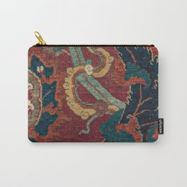Flowery Arabic Rug III // 17th Century Colorful Plum Red Light Teal Sapphire Navy Blue Ornate Patter Carry-All Pouch