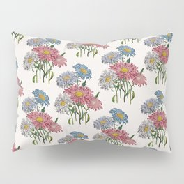 Old-fashioned illustration of China Asters Pillow Sham