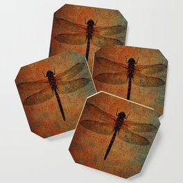 Dragonfly On Orange and Green Background Coaster