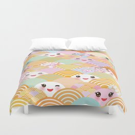 seamless pattern Kawaii with pink cheeks and winking eyes with japanese sakura flower Duvet Cover