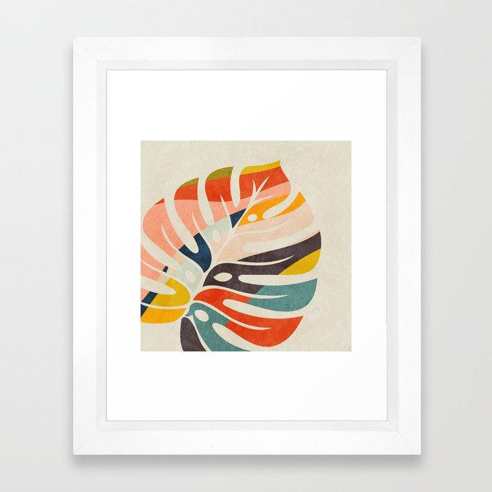 shape leave modern mid century Framed Art Print