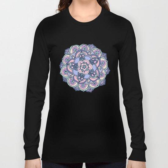 Aqua, Pink and Purple Doodled Pattern Long Sleeve T-shirt