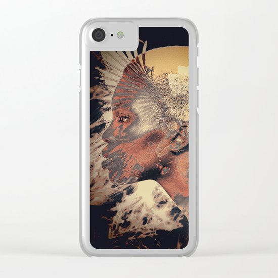 PORTRAIT (Woman and bird) Clear iPhone Case