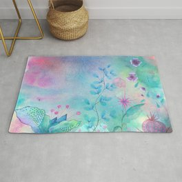 Ethereal garden watercolor painting Rug