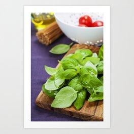 Basil and ingredients for making italian pasta Art Print