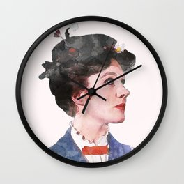 Mary Poppins - Watercolor Wall Clock