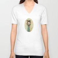 lama V-neck T-shirts featuring Lama by Anastasia Tayurskaya