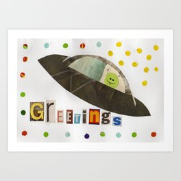 Flying Saucer Greetings Art Print