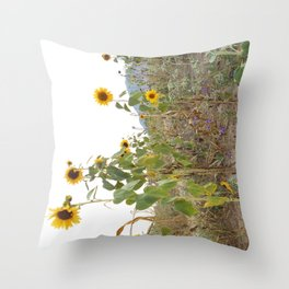 Sideways sunflowers Throw Pillow