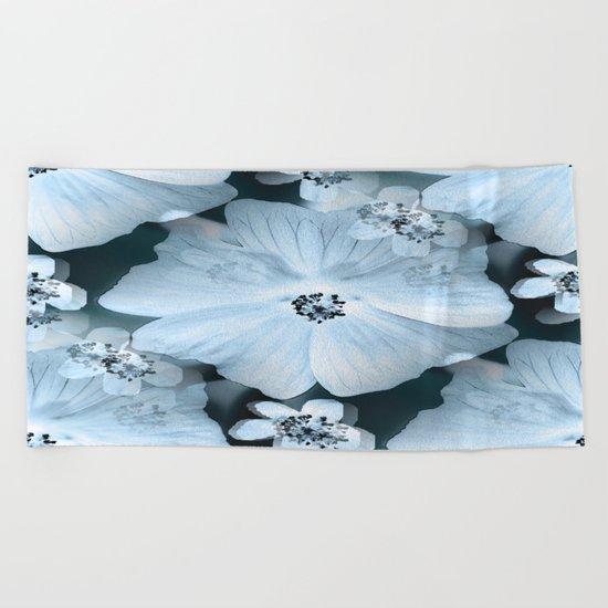 Flower-power - pastel blue flowers on a dark blue background Beach Towel