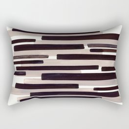 Grey Primitive Stripes Mid Century Modern Minimalist Watercolor Gouache Painting Colorful Stripes Wa Rectangular Pillow