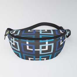 Mid-Century Squares In Blue, Turquoise And White Fanny Pack