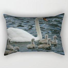 Mute Swan & Cygnets Rectangular Pillow