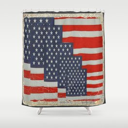 Patriotic Americana Flag Pattern Art Shower Curtain
