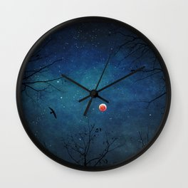 Blood Moon Through Trees Wall Clock