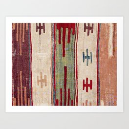 Arcade Star Kilim // 17th Century Colorful Muted Lime Green Southwest Cowboy Ornate Accent Pattern Art Print