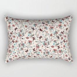 Folky Floral Print Rectangular Pillow