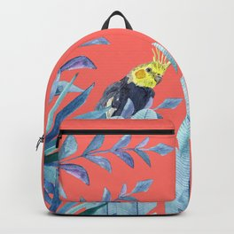 Cockatiel with tropical foliage and coral pink background Backpack