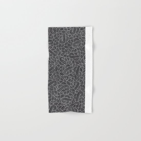 Black and faux silver swirls doodles Hand & Bath Towel