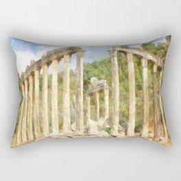 Euromos Ruins Watercolor Rectangular Pillow
