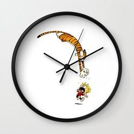 calvin and hobbes funny Wall Clock