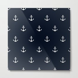 Dark Blue Anchor Pattern Metal Print