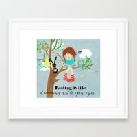reading Framed Art Prints featuring reading by Elisandra