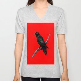 Decorative Chinese Red Black Crow Design Unisex V-Neck