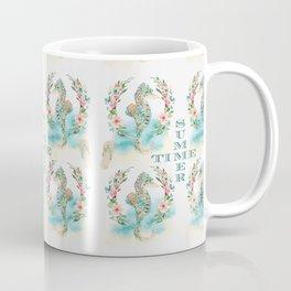 Watercolour Tropical Flowers Wreath Seahorses Summer Time Coffee Mug