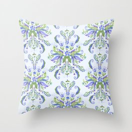 Blue Medallion Throw Pillow