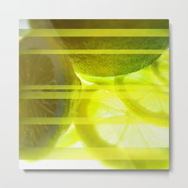Light & Limes Striped Abstract Design Metal Print
