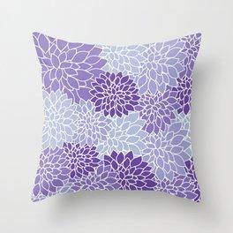 Ultra Violet Lavender Dahlias Throw Pillow